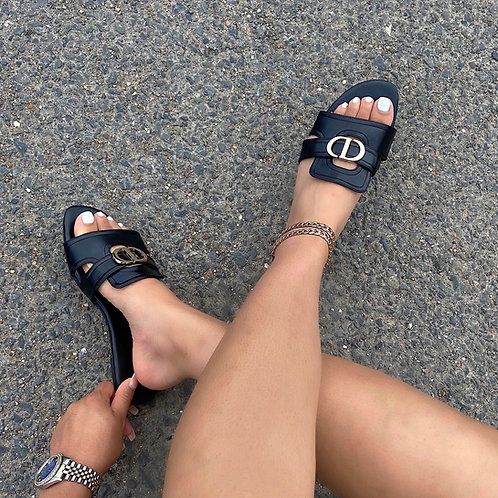 Didi - Balck With Gold Detail Slip On Flat Sandals