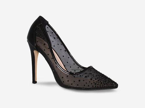 Sophia- Black Mesh Diamante Pointed Toe Heels