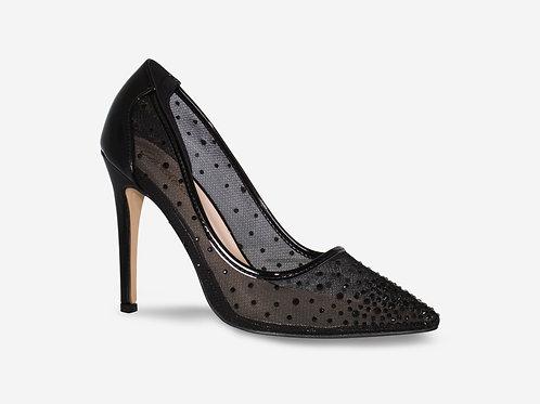 Sofia- Black Mesh Diamante Pointed Toe Heels