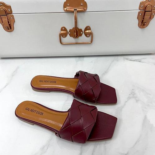 Freida - Burgundy Woven Detail Square Toe Flat Slip On Sandals