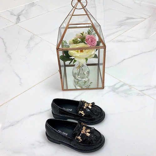 Baby Darcey - Black Patent Croc Print with Gold Tassle Detail Flat Loafer