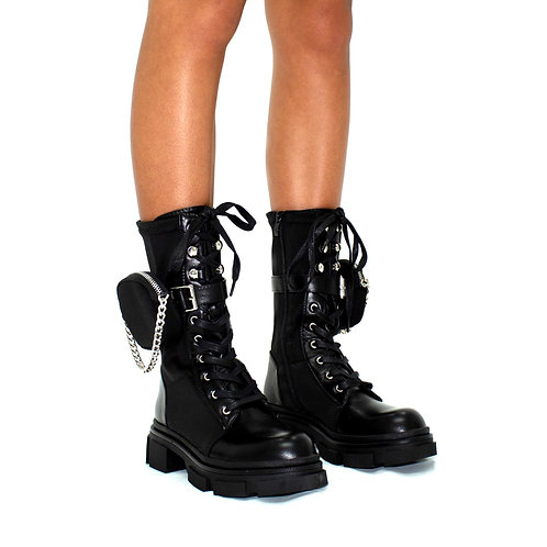 Bailey - Black Pu w/ Lycra Panel & Silver Detail Satin Pocket Mid Length Boots