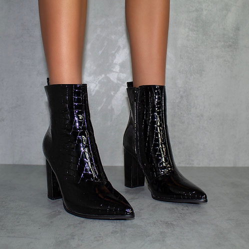 Cleo - Black Croc Print Pointed Toe Block Heel Ankle Boots