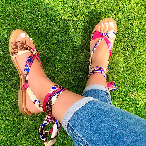 Celly - Pink Silky Scarf Print Barely There Tie-Up Flat Sandals