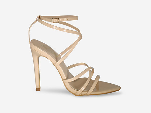 Nessa -  Nude Patent Barely There Pointed Toe Heel