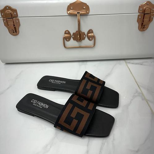 Gigi - Black with Brown Print Band Slip On Flat Sandals
