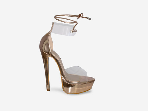 Emilia - Rose Gold Perspex Tie Up Platform Heel
