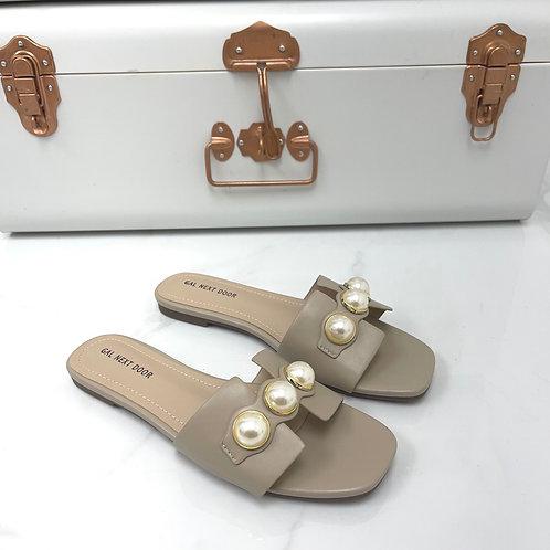 DUBAI - Khaki with  Gold & Pearl Detail Flat Sandals