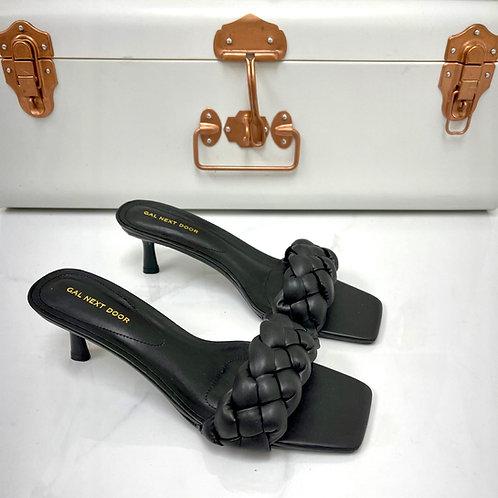 Shanice - Black Woven Detail Square Toe Low Mule Heels