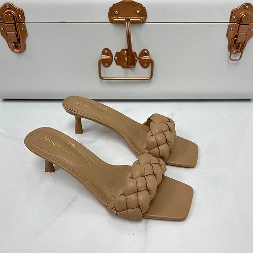 Shanice - Nude Woven Detail Square Toe Low Mule Heels