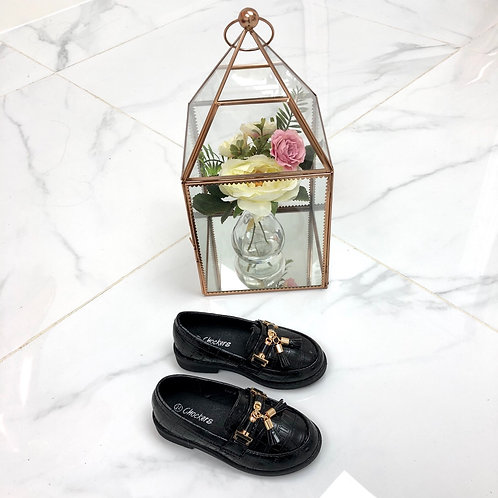 Baby Darcey - Black Pu Croc Print with Gold Tassle Detail Flat Loafer