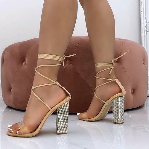 Ariel - Nude Patent Perspex Tie Up Diamante Block Heel
