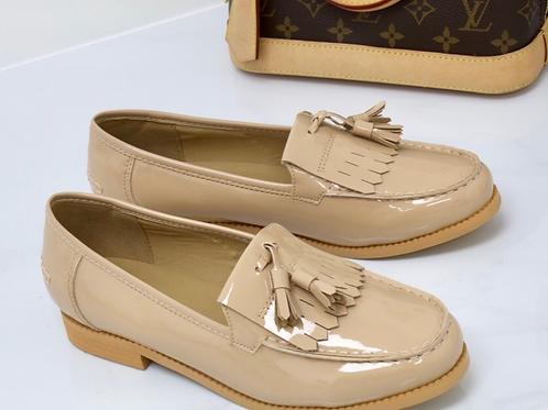 Ava - Nude Patent Tassle Loafer