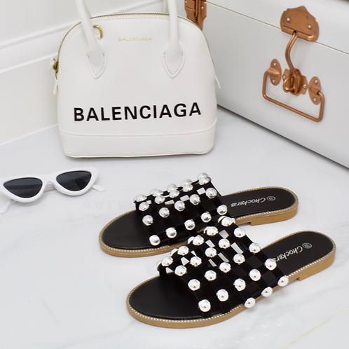 Elouise - Black Silver Ball Slider Sandals