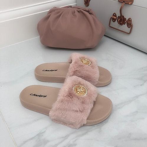 Ruby - Pink Vegan Fur Gold Medallion Slider