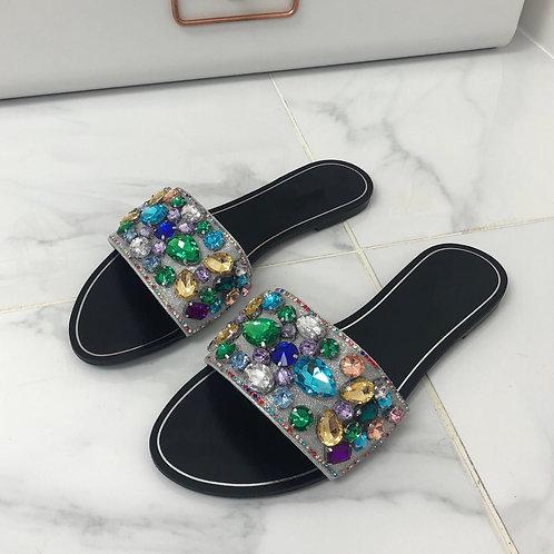 Saffron - Silver Multi Coloured Stones Flat Slip On Sandal