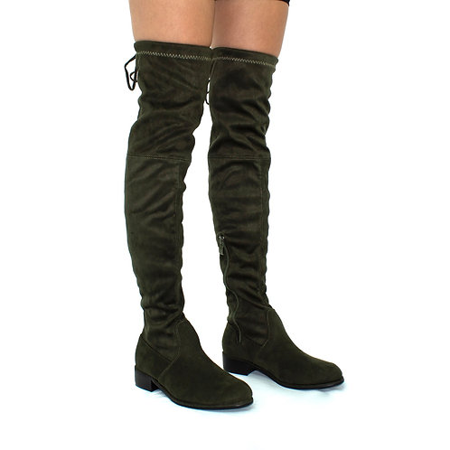 Ray - Khaki Faux Suede Zip Tie Up Thigh High Boots