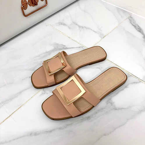 Esmerelda - Nude With Gold Square Detail and Cut Outs Flat Slip On Sandals