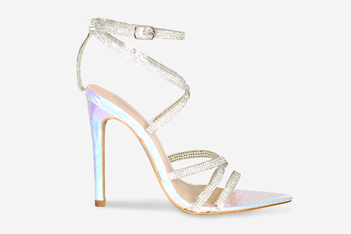 Melissa - Iridescent Croc Print Diamante Pointed Toe Strappy Heel