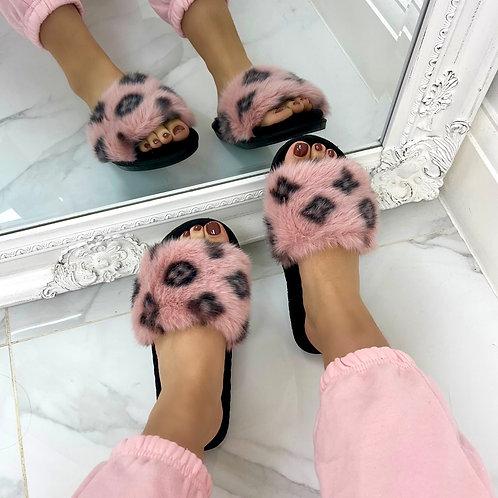 Paris - Pink Fluffy with Black Velvet Insole Printed Open Toe Slipper Sliders