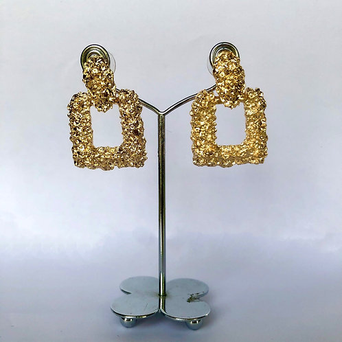 Small Square Gold Earrings