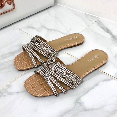 Gina - Nude Patent Croc Print with Silver Diamante Detail Flat Slip On Sandals
