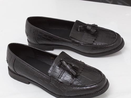Ava - Black Pu Croc Print Tassle Loafer