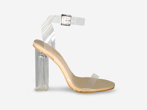 Mila - Nude Patent Perspex Block Heel
