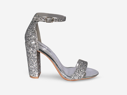 Hannah - Metallic Silver and Glitter Block Heel