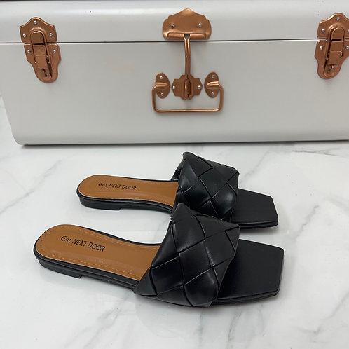 Freida - Black Woven Detail Square Toe Flat Slip On Sandals