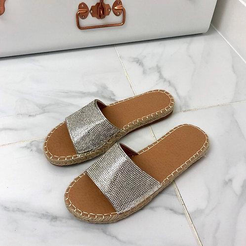 Ruth - Silver Diamanté Woven Sole Flat Slider Sandals