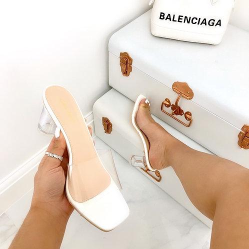 Sian - White Patent Perspex Square Toe Low Round Block Mule Heel