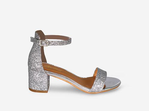Rebecca - Metallic Silver and Glitter Low Block Heel