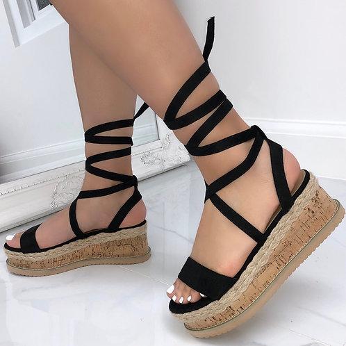 Elena - Black Faux Suede Tie Up Cork Flatform Sandals