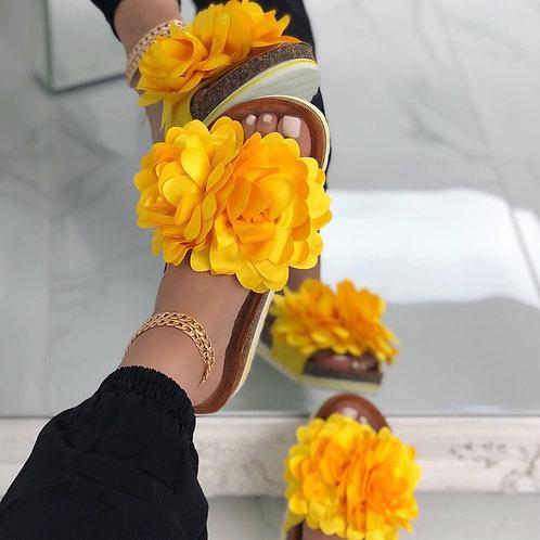 Steph - Yellow Flower Slip On Slider Sandal
