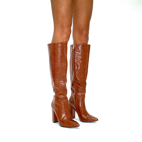 Natasha -  Camel Croc Print Knee High Pointed Toe Block Heel Boots
