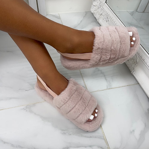 Sky - Pale Pink Fluffy Sling Back Slider Sandals