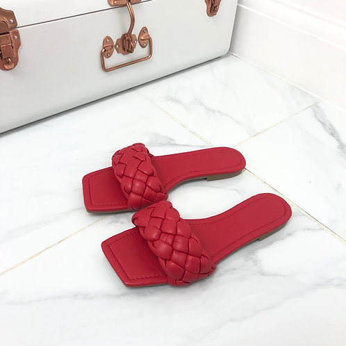 Kirby - Red Plaited Detail Square Toe Slip On Flat Sandals