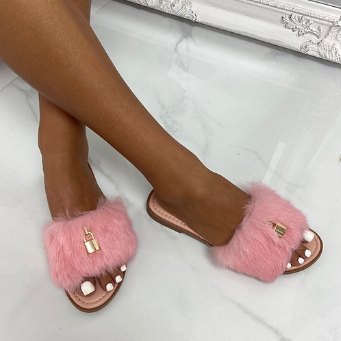 Fenty - Pink Fluffy Gold Padlock Slip On Toe-Post Slider Sandals
