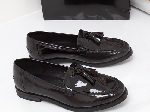 Ava - Black Patent Tassle Loafer