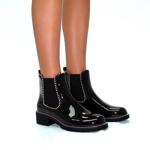 Hailey - Black Patent Silver Ball Ankle Boots