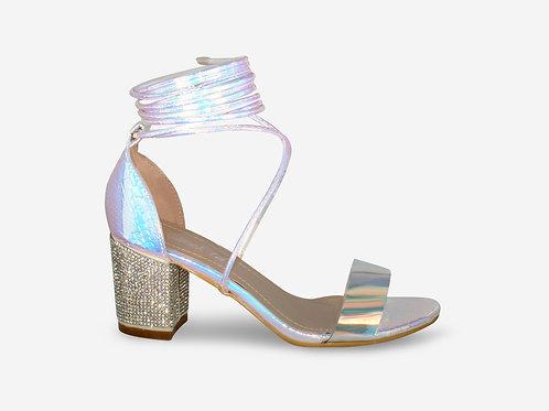 Demi - Iridescent Croc Print Tie Up Diamante Low Block Heel