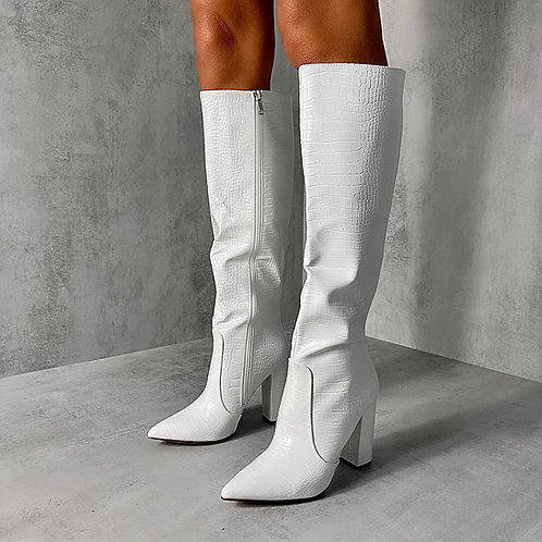 Natasha -  White Croc Print Knee High Pointed Toe Block Heel Boots
