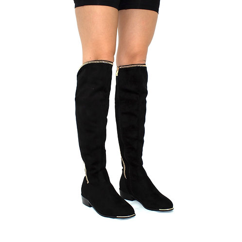 Jodie - Black Faux Suede with Gold Trim & Chain Detail Knee High Boots