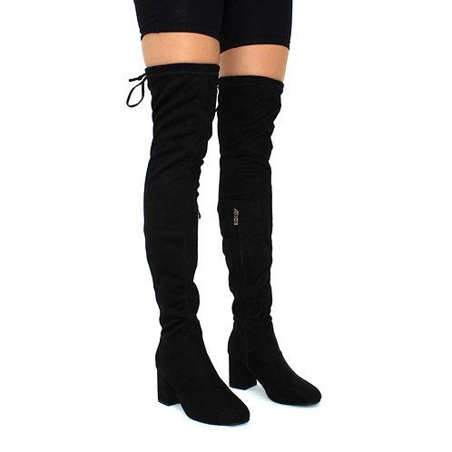 Jordan- Black Faux Suede Low Block Heel Knee High Boots