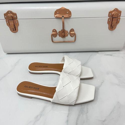 Freida - White Woven Detail Square Toe Flat Slip On Sandals