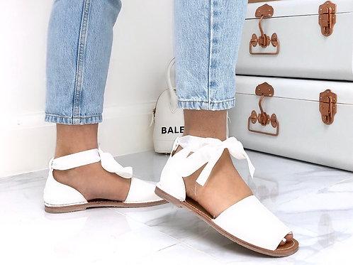 Aariya - White Faux Leather Tie Up Flat Peep Toe Sandal