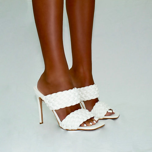 Sasha - White Double Woven Band Stiletto Heels