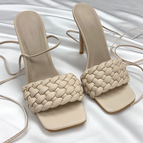 Tessa - Cream Woven Detail Tie-Up Mule Heels