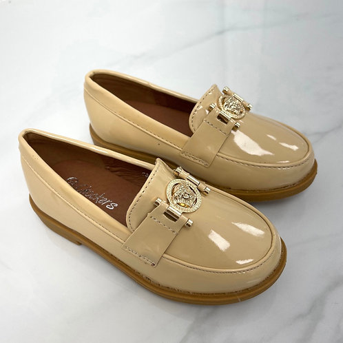 Baby Naomi- Nude Patent with Gold Detail Flat Loafer
